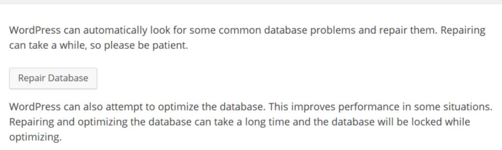 wordpress database repair tool
