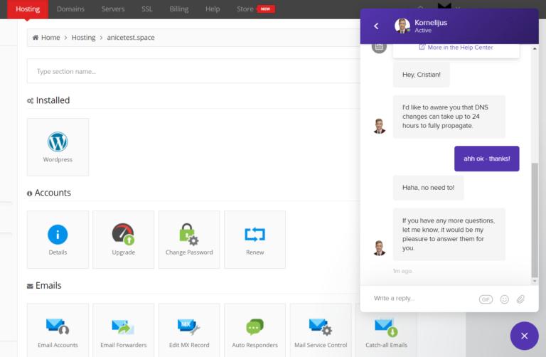 hostinger intercom live chat