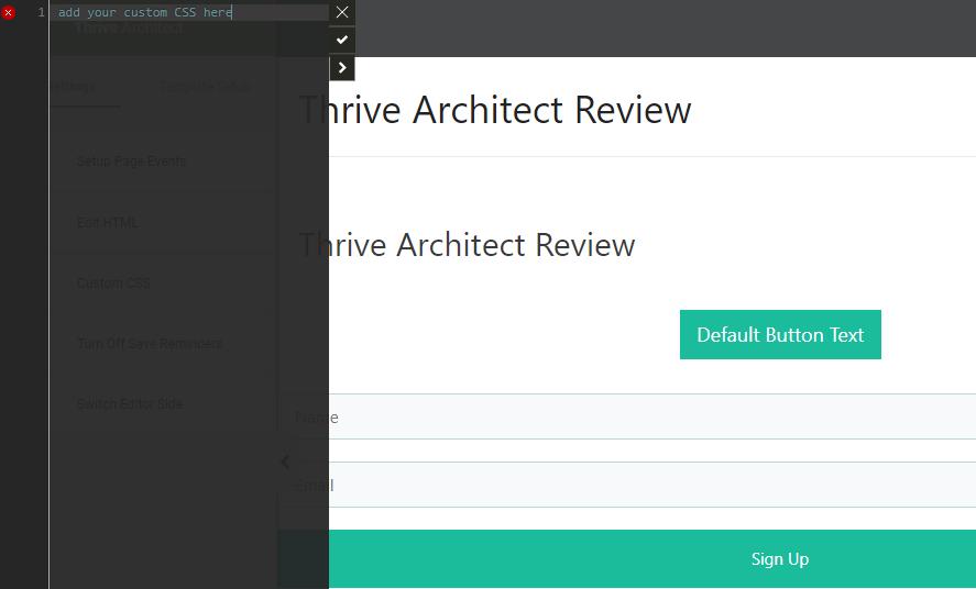 Thrive Architect html editor