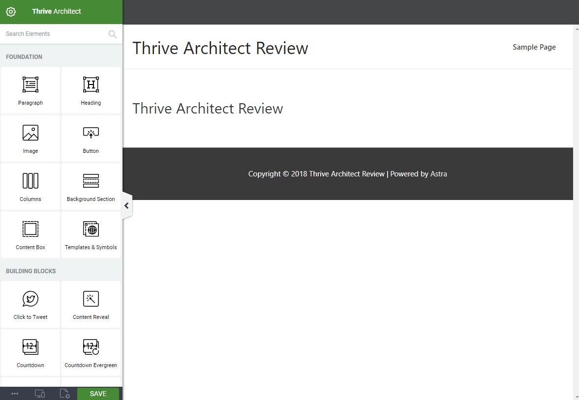 Thrive Architect interface