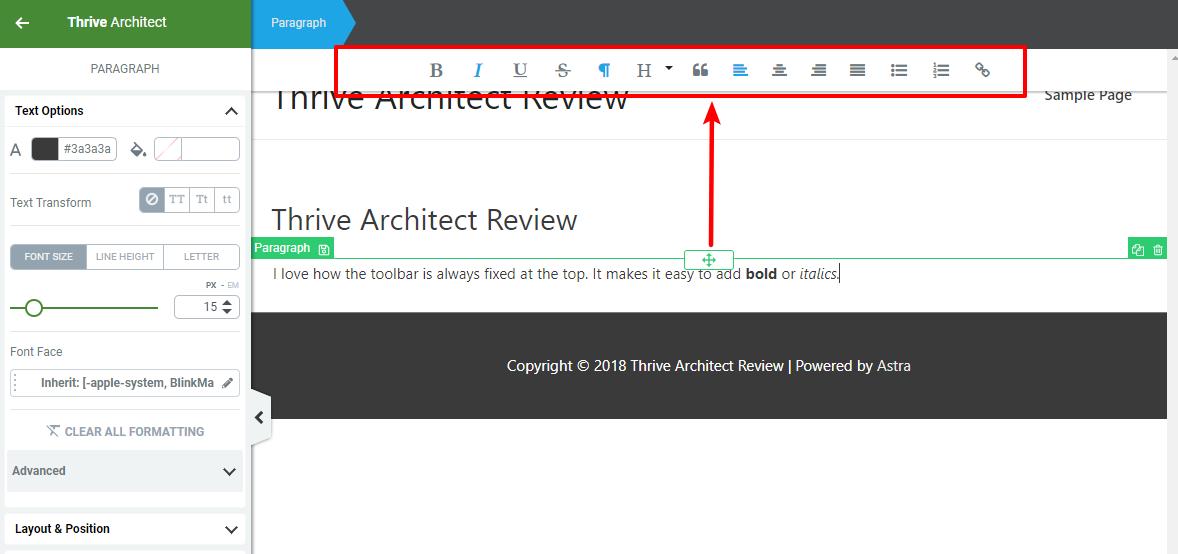 fixed toolbar