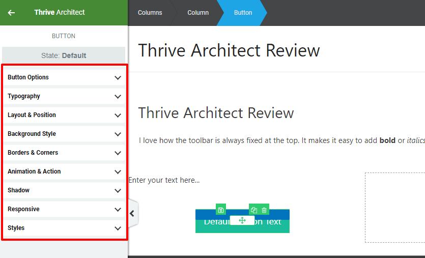 thrive architect styling options