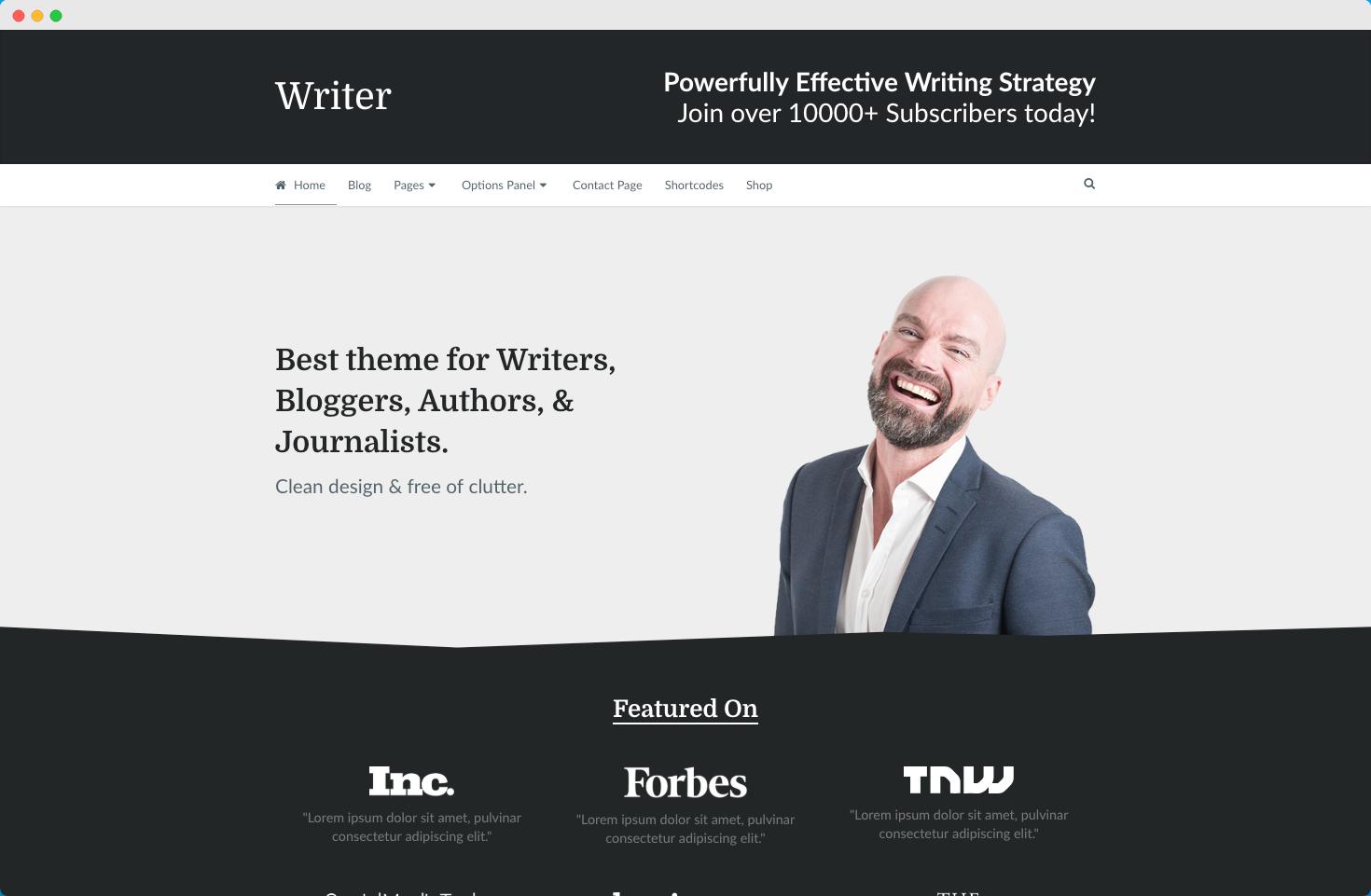writer theme demo
