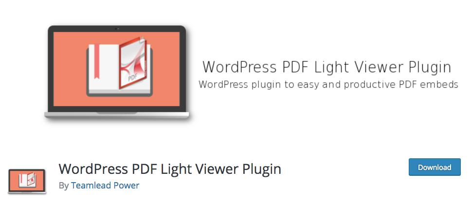 WordPress PDF Light Viewer Plugin